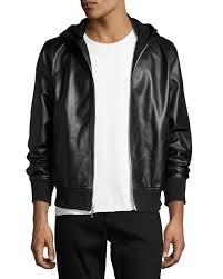 rag bonemen s christopher black leather hooded er jacket