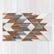 urban tribal pattern 12 aztec wood rug