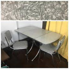 vine formica grey silver white table kitchen two chairs plaid 50s 40s folding