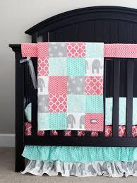 C Custom Crib Bedding Baby Bedding  Mint Grey Elephant And Coral Girl