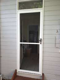 hinged fly screen door in pearl white with lockwood handle and barrel from 440 installed