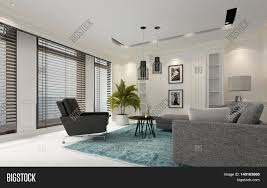modern white luxury living room with window blinds on a row of large windows comfortable o27 white