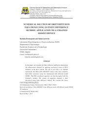 pdf numerical solution of drift diffusion equations using 2d finite difference method to a strained mosfet device