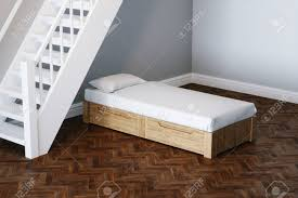Child Bed Design Wood Kid Bed Design Concept In New Child Room Under Wooden Stairs