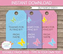 Birthday Tags Template Butterfly Party Favor Tags Thank You Tags Birthday Party