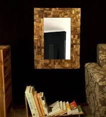teak wood rectangular wall mirror by divine decor