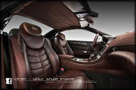 custom leather auto interior leather with antique effect crocodile leather and brown alcantara
