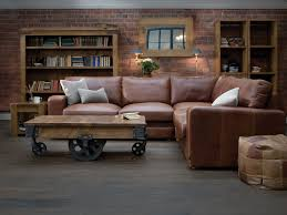 Vintage Square Arm Leather Corner Sofa By Indigo Sitting