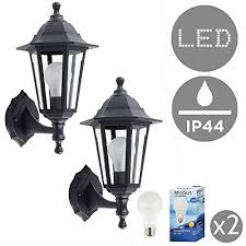 pair of traditional style black outdoor security ip44 rated wall light lante traditional outside wall