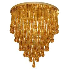 barovier toso large amber glass teardrop chandelier for