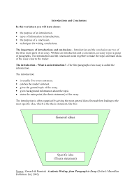 the essay parts explanation the essay parts explanation introductions and conclusionsin this worksheet you will learn about • the purpose of an