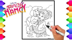 Fancy nancy and the dazzling jewels. Disney S Fancy Nancy And Frenchy Dog Coloring Page Fancy Nancy Coloring Book For Kids Youtube