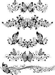 蝶と音符の飾り罫 Flower Beautiful Butterfly Pattern Vector イラスト
