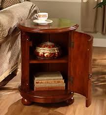 End Table Round Solid Wood Drum Style Door Vintage Storage Cabinet