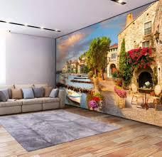 3D Wallpaper Murals Harbor Small Town ...