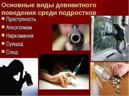 Презентация Девиантное поведение подростков  Основные виды девиантного поведения среди подростков Преступность Алкоголизм