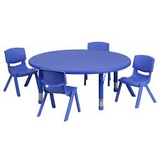 45 round blue plastic height adjule activity table set with 4 chairs