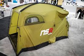 The cavernous tent is built with specifically shaped bulges that are  designed to accommodate either wide MTB bars out the side of the tent, or  drop bars out ...