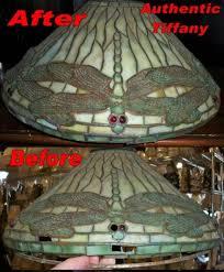 tiffany lamp repair example authentic louis comfort tiffany clara driscoll design before and after repair