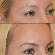 eyebrow microblading blonde hair. photo of soft and natural permanent makeup - new york, ny, united states. microblading eyebrow blonde hair