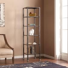 Glass Bookshelf Southern Enterprises Marten 5 Shelf Metal And Glass Tower Hd888934