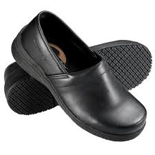 black non slip slip on leather shoe main picture
