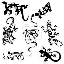 Obraz Tetování Ještěrky Kolekce Sedm Siluety