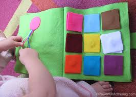 color square matching and braid the ribbon no sew quiet book page from powerfulmothering
