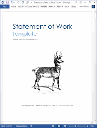 design statement of work statement of work template ms word excel templates
