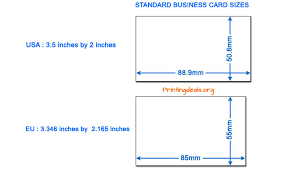 average postcard size business card sizes