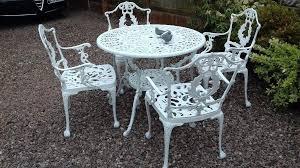 vintage georgian style cast aluminium metal round garden table 4 chairs iron