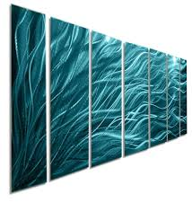 rays hope aqua large modern abstract metal wall art jon allen world tapestry contemporary vanity colorful