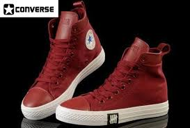 converse high tops leather red