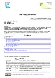 Engineering Design Brief The Design Process