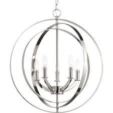 progress lighting equinox 5 light polished nickel orb chandelier