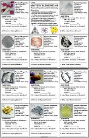 Worksheet: Mystery Elements and Their Density Version 1 | Periodic ...