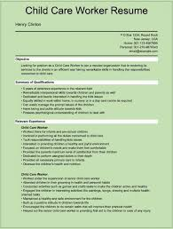 Resume And Cover Letter Child Care Resume Sample Sample Resume