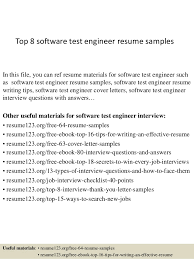 Top 8 software test engineer resume samples In this file, you can ref resume  materials ...