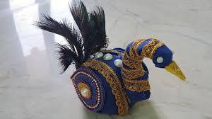 Decorative Nariyal Designs Peacock Nariyal Decoration For Weddings Coconut Decoration In Peacock Style Craftlas