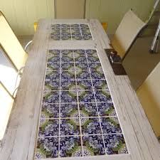 diy tabletop ideas. furniture. diy mosaic tabletop ideas with flower pattern and white framing door frame. catching