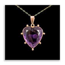 amethyst heart pendant 9ct rose gold antique