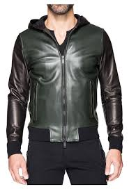 robert hooded leather jacket in retro green