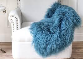 mongolian sheepskin rug home decoration customize design genuine leather fur various blue colors