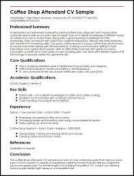 Cafe Attendant Sample Resume Amazing Coffee Shop Attendant CV Sample MyperfectCV Portfolio Building