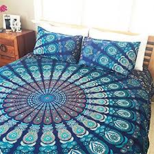 Amazon.com: Indian Cotton Mandala Double King Size Bed Quilt Duvet ... & Indian Cotton Mandala Double King Size Bed Quilt Duvet Doona Cover Blanket  Boho by Handloom House Adamdwight.com
