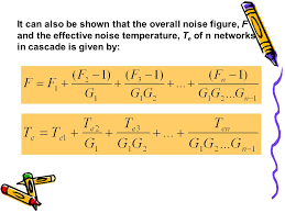 41 it can also be shown that the overall noise figure f and the effective noise temperature t e of n networks in cascade is given by