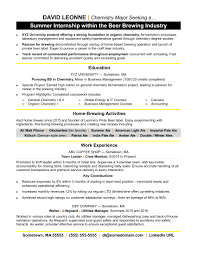 Internships Resume Examples College Student Samples No Experience