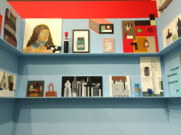 artblog nathalie du pasquier s dizzying colorful art and decor   blue room shelves referenced in essay installation view image courtesy of institute