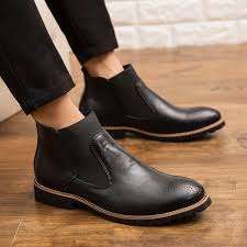new men chelsea boots ankle boots fashion mens male brand leather quality slip ons motorcycle boots singapore