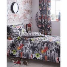 tricks skateboard skater boy reversible duvet quilt cover bedding set grey black